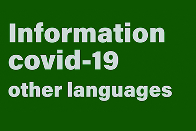 "Grön ruta med texten ""Information covid 19 other languages"""